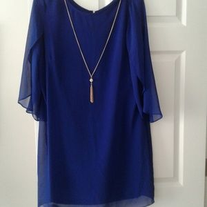 Blue sheer overlay dress